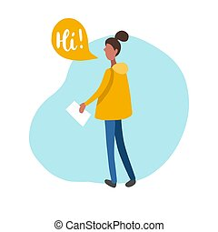 Vector flat illustration of girl with speech bubbles in minimalist style. Woman speaking Hi. Used for social networks.