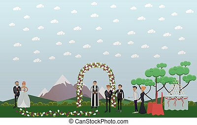 Vector flat illustration of groom and bride with her father