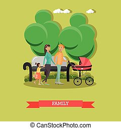 Vector flat illustration of happy family walking in the park