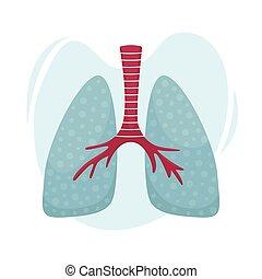Vector flat illustration of human lungs. Medical illustration.