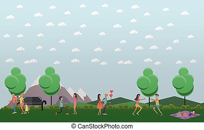 Vector flat illustration of loving couples taking rest in park