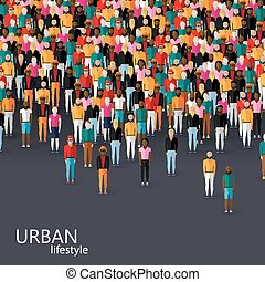 vector flat illustration of male community with a crowd of guys
