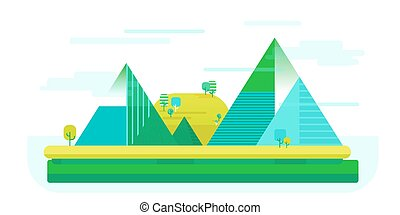Vector flat illustration of nature landscape with mounties in simple cute style, outdoor concept.