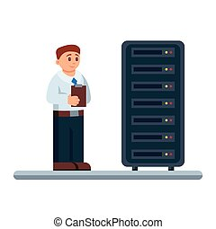 Vector flat illustration of network engineer administrator checking hardware equipment of data center.
