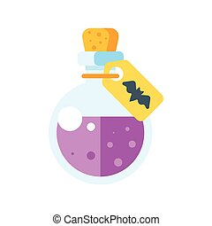 Vector flat illustration of potion of poison isolated on white background.