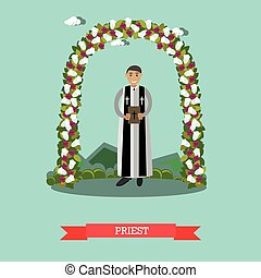 Vector flat illustration of priest under wedding arch