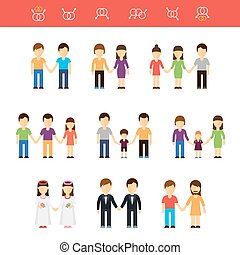 Vector flat illustration of same-sex couples male or female.