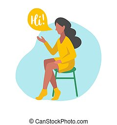 Vector flat illustration of sitting girl with speech bubbles in minimalist style. Woman speaking Hi. Used for users app.