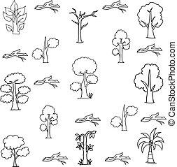 Vector flat illustration of tree set