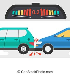 two cars in accident and warning signal - Vector flat ...