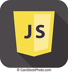 vector flat illustration of web development shield sign - javascript. isolated yellow icon js on white background