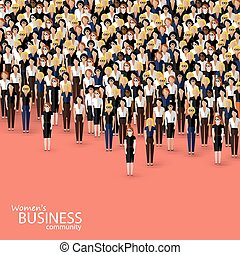 vector flat illustration of women business community. a crowd of