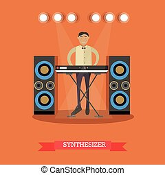 Vector flat illustration of young musician playing synthesizer