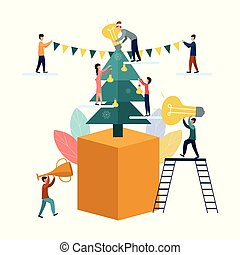Vector flat illustration, on a white background, Christmas tree with lamps, businessmen decorate the Christmas tree with bulbs. Little people looking for new ideas