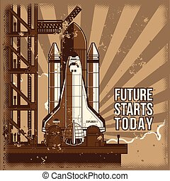 Vector flat illustration of a retro style rocket is ready for launch.