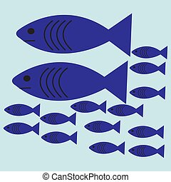 Vector flat illustration. Shoal of blue fish. EPS 10