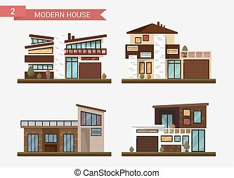 Vector flat illustration traditional and modern house. Family home.