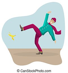 Vector flat illustration with a slipped man on a banana peel.