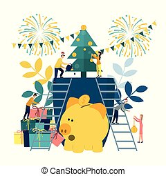 Vector flat illustrations, a big piggy bank on a white background, a Christmas tree with money, businessmen are preparing for the new year, hoarding or saving money.