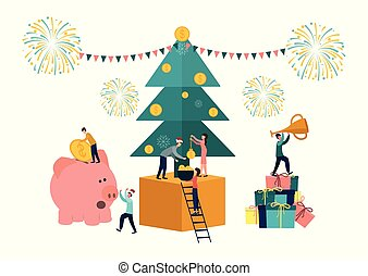 Vector flat illustrations, big piggy bank on a white background, New Year tree with money, businessmen are preparing for the new year, receive cash bonuses.