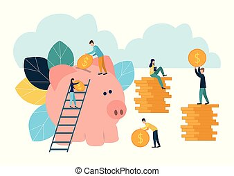 Vector flat illustrations, big piggy bank on white background, financial services, bankers do the work, hoard or save money.