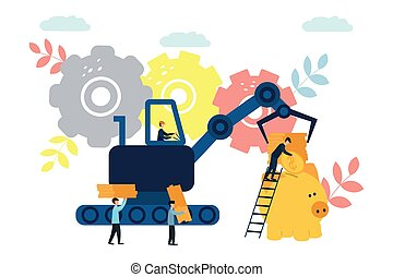 Vector flat illustrations, big piggy bank on white background, financial services, bankers do the work, hoard or save money