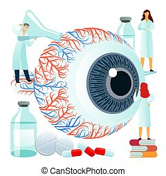 Vector flat illustrations, large human eye on a white ...