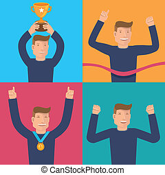 Vector flat illustrations - victory concepts - Vector set of...