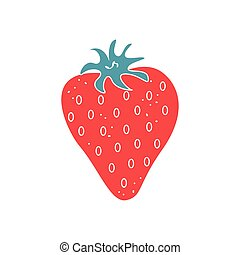 Vector flat image of strawberries on a white background