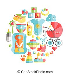 Vector flat infancy round illustration. Baby infancy products. T