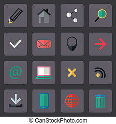 Vector flat internet icons set