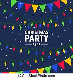 Vector flat invitation for christmas dance party