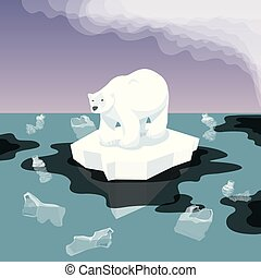 White Bear With Plastic Garbage In The Water