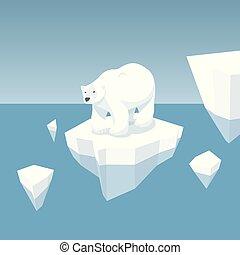 Melting Iceberg And White Bear - Vector Flat Isometric...
