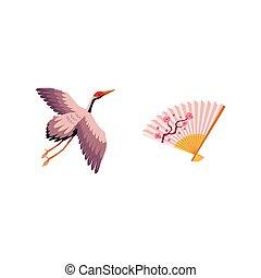 vector flat japanese symbols set