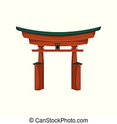 vector flat japanese torii gate icon isolated