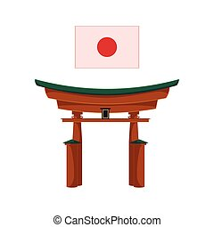 vector flat japanese torii gate icon isolated - vector...