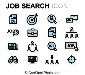 Vector flat job search icons set