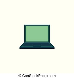 Vector flat laptop computer icon.