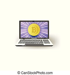 Vector flat laptop computer monitor with bitcoins