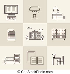 vector flat library icons - flat vector flat library icons...