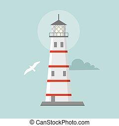 Vector flat lighthouse. Cartoon landscape. Searchlight...