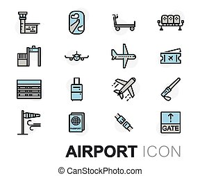 Vector flat line airport icons set