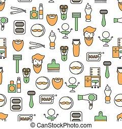 Vector flat line art barbershop seamless pattern - Vector...