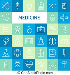 Vector Flat Line Art Modern Medicine and Healthy Life Icons Set