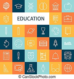 Vector Flat Line Art Modern School and Education Icons Set