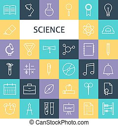 Vector Flat Line Art Modern Science Education and School Icons Set