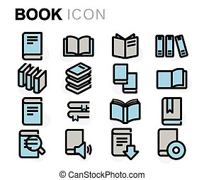 Vector flat line book icons set