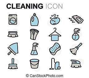 Vector flat line cleaning icons set