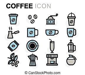 Vector flat line coffee icons set